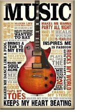 Music Guitar Rocks Inspires Sing Heals Dance Soul Sign Magnet 2 inch X 3 inch