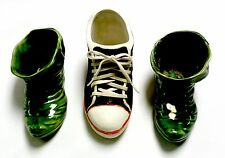 PLANTERS- 3-PC LOT SHOE DESIGNS, 1- SNEAKER w/LACES & 2- ELF BOOTS, ALL CERAMIC