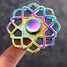 Color Rainbow Plating Aluminum Metal Tri Hand Spinner Fidget EDC Desk Toy Gyro