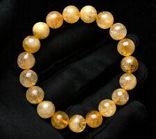 10mm Natural Yellow Citrine Quartz Crystal Round Beads Bracelet AAA