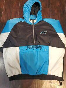Vtg Starter Carolina Panthers Football Jacket Pullover Kids Large 1/2 zip up EUC