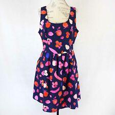 Retrolicious Plus Navy Fruits Print Dress Spring Summer 4X made in USA