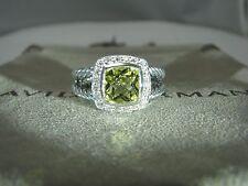 DAVID YURMAN AUTHENTIC ALBION 7MM LEMON CITRINE DIAMOND RING  SIZE 8 DY.POUCH