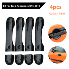 4*Fit For Jeep Renegade 15-18 Carbon Fiber Style Door Handle Cover w/Smart Hole