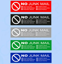 No Junk Mail Letterbox Front Door Sign - SELF ADHESIVE STICKER  - 160mm x 45mm