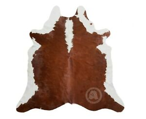 Genuine Hereford Brown and White Cowhide Rug Large 5ft x 6ft - 150cm x 180cm