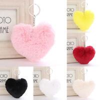Fluffy Keychain Heart Shape Key Ring Women Handbag Pendant Accessory Decor Gift