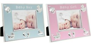 BABY BOY GIRL BLUE PINK PHOTO FRAMES GIFT BOXED NEWBORN CHRISTENING PRESENT