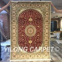 Yilong 4'x6' Handknotted Silk Persian Carpet Living Room Medallion Rug Y397C