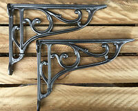 "Pair 10"" ANTIQUE HEAVY DUTY CAST IRON VICTORIAN SHELF WALL BRACKETS - BR27p(x2)"