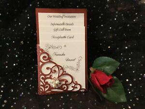 WEDDING INVITATION BURGUNDY MAROON PEARL  VINTAGE POCKET 4 CARD  LASER CUT