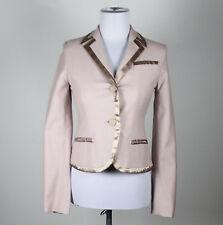 MARC JACOBS light pink cotton blend long sleeve satin trim blazer jacket 4