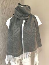 Ralph Lauren Grey Bridle/equestrian Jacquard 100 Wool Scarf