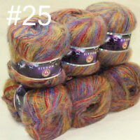 6 balls MOHAIR 50% Angora Cashmere 50% silk hand Yarn Knitting blue red green 25