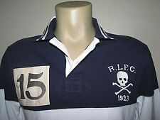 Custom Fit (XXL) POLO-RALPH LAUREN Navy Mesh SKULL & CROSSBONES Rugby Shirt