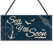 Seaside Sea You Soon Nautical Shabby Chic Hanging Plaque Beach Bathroom Decor