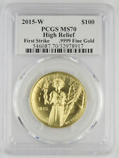 2015 W $100 High Relief Liberty 1 Oz Gold Coin PCGS MS70 Moy & Mercanti Signed
