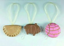 Pan Dulce Christmas Ornament Set - 3 Piece Hand Made With Fridge Magnet Backing!