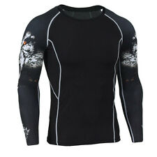 Mens Compression Armour Base Layer Top Long Sleeve Thermal Gym Sports Wolf Shirt