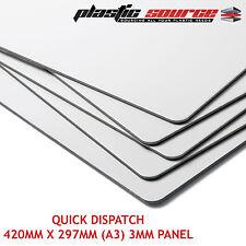 3mm  420mm x 297mm (A3) White Aluminium Composite Sheet ( Dibond Alt ) ACM Panel