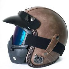 US Flat-Brown Vintage Harley Motorcycle Motor Helmet PU Leather Face Mask XL DOT