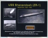 USS Shenandoah - Genuine Piece of the Original Fabric on Impressive Certificate