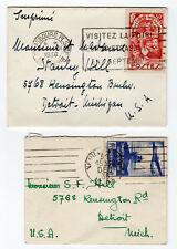 1936 France Petite Covers, Semi-Postal - Strasbourg to Detroit, MI*