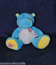 Peluche Doudou Hippopotame JEUX 2 MÔMES Bleu Blanc Jaune Fleur Papillon NEUF