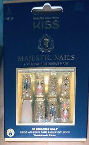 Kiss Majestic Nails High End Prestigious Mani 30 Reusable Set Long Length NEW