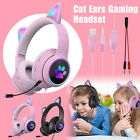 Cat Ears LED 3.5mm Mic Gaming Headset Stereo Surround Headphone for PS4 Xbox PC