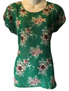 Metaphor Green Floral High Low Short Sleeve Sheer Shirt Blouse Top Size M Medium
