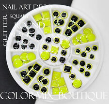 #EX03 Square Round Rivets Nail Art Decoration Color Coated Glitter Slice Studs