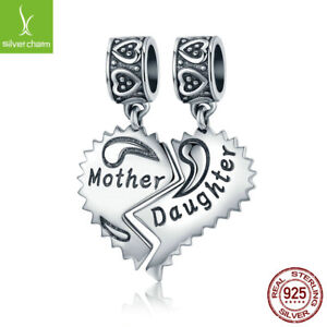 Real 925 Sterling Mother and Daughter Love Forever Hanging Beads Charm fit Chain