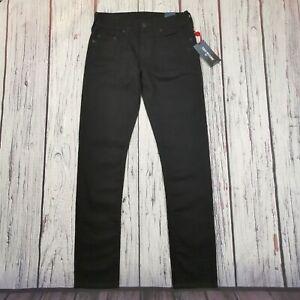Men's True Religion Jeans 30 Waist 34 Leg Geno Relaxed Slim Fit Black Stretch