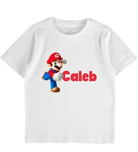 Super Mario Luigi PS4 PS5 Tshirt Personalised Nintendo clothes kids toddler gift