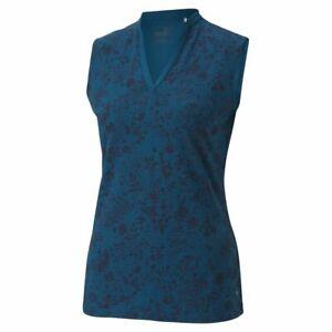PUMA Golf Women's Microfloral Sleeveless Polo Size Small NEW SAMPLE Digi Blue