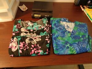 LOT (2 Scrubs Women Nurse Medical Size XL-Roomy-Comfy-Short sleeved- Pockets