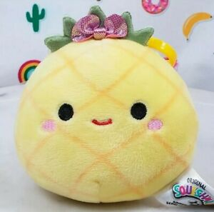 """YaY! 3.5"""" LULU the Yellow PINEAPPLE Clip-On Claire's Food Squishmallow Plush Toy"""