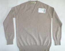 "Glen Oak V Neck 2 ply pure cashmere pullover sweater pullover top 36"" Oatmeal"