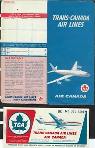 VINTAGE TRANS-CANADA AIR LINES - FOULDER / TICKET /BOARDING PASS / BAG TAG -1961