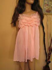 Vtg 60s Pink Nylon Chiffon Ruffled Accordion Pleat Sissy Babydoll Night Gown 36
