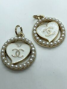Chanel C Logo Gold White Pearls Heart Circle Zipper Pull 20mm Stamped Set Of 2!