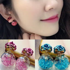 Women Double Sides Rose Flower Crystal Ball Ear Stud Earrings Jewelry  Z
