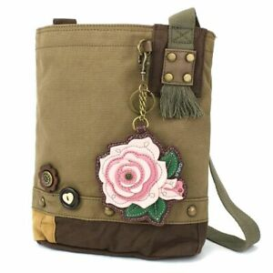 New Chala Patch Crossbody Messenger Olive Green Bag Canvas PINK ROSE Flower gift