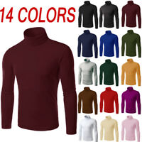 Mens Thermal Cotton Turtle Neck Solid Turtleneck Knit Sweaters Stretch Shirt