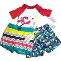 Lot of 3 Cat & Jack 9M Infant Shorts Shirt Swimming Lined Fish Toucan Striped