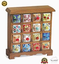 Sixteen Drawer Ceramic Spice Chest Hand Painted Made From Mango Wood Fair Trade