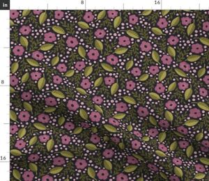 Pink Daisies Black Cute Flowers Floral Quilt Spoonflower Fabric by the Yard
