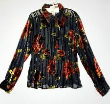 Uniform John Paul Richard Blouse M Floral Long Sleeve Button Velvet Burnout tops
