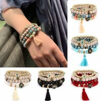 4Pcs/set Women Boho Multi-layer Natural Stone Bangle Bead Bracelet Jewelry Gifts